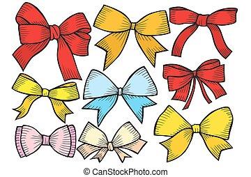 Set of bows, hand drawn