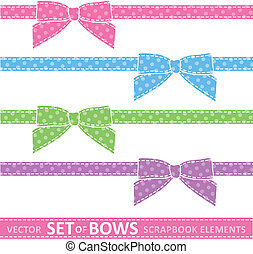 set of bows - set of cartoon bows, digital scrapbooking...