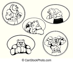 Set of boxer bear logos