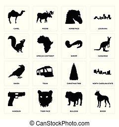 Set of boxer, bulldog, handgun, christmas tree, raven, shrimp, , horse face, camel icons