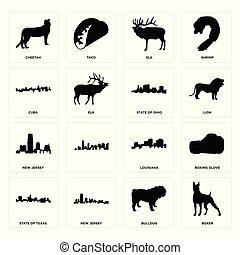 Set of boxer, bulldog, state texas, louisiana, new jersey, ohio, cuba, elk, cheetah icons