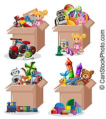 Set of boxes full of toys