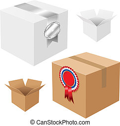Set Of Boxes With Badges