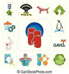 Set of boxing gloves, cabbage, chemical company, surgeon, window cleaning, gavel, maternity, penguin, facility icons
