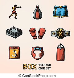 Set of boxing hand drawn color icons - gloves, shorts,...