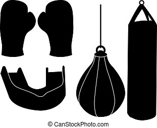 Set of Boxing Silhouettes