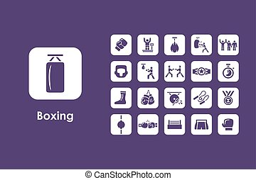 Set of boxing simple icons