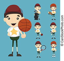 Set of boy and sport