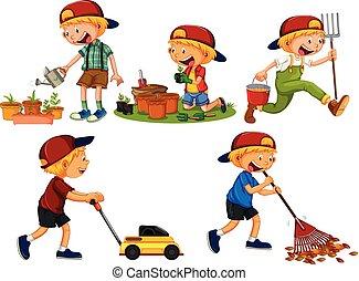Set of boy gardening