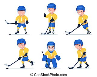 Set of boy hockey player playing with a stick