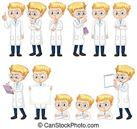 Set of boy in lab gown doing different poses