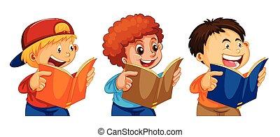 Set of boy readign a book