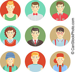 Set of boys avatar faces in flat style