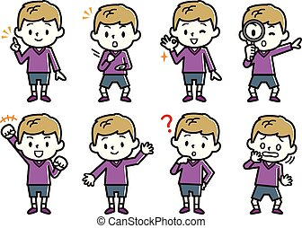 Set of boy's illustration. Blonde boy character.
