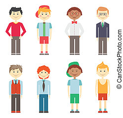 Set of eight different colorful vector smiling boys in casual smart and sports clothes with diverse hairstyles and ethnicity