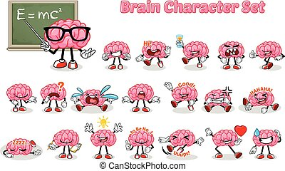 Set of Brain Cartoon Character