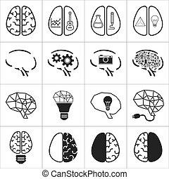 set of brain icon