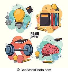 Set of brain icons