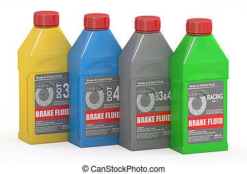 Set of Brake Fluid Bottles, 3D rendering