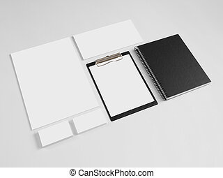 Set of branding corporate design templates with notebook.
