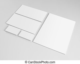 Set of branding elements on gray background