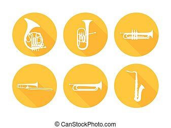 Set of Brass Musical Orchestra Instruments