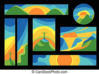 Set of Brazil card, brochure, button, banner in simple color flat style isolated on black background. Olimpic landscape vector illustrations. Rio de Janeiro wave backdrops with sun, mountains, jesus