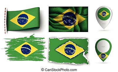 brazilia flags collection isolated on white - set of ...
