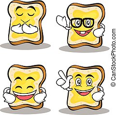 Set of bread character cartoon