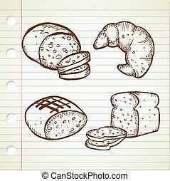 set of bread doodle