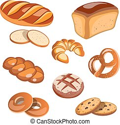 Set of bread products isolated