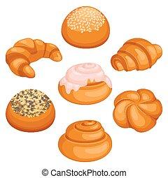 Set of bread rolls isolated illustration on white