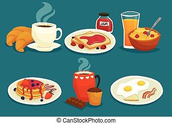 Set Of Breakfast Cartoon Icons
