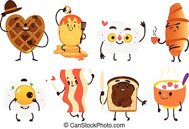 Set of funny smiling breakfast characters