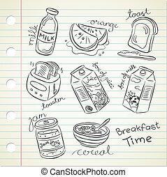 set of breakfast doodle