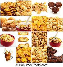 Set Of Breakfast Food On White Background