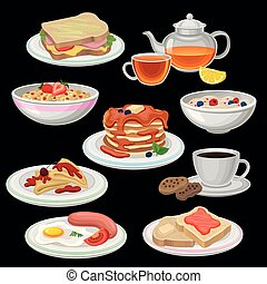Set of breakfast icons. Sandwich, tea, coffee with cookies, pancakes with chocolate, toasts, fried egg with sausage, bowl of oatmeal porridge, corn flakes rings. Flat vector design