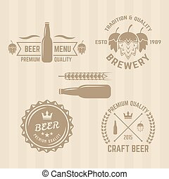 Set of brewery vintage vector colored emblems