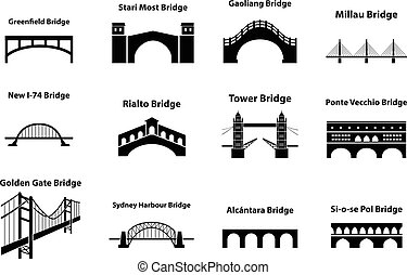 Set of bridge landmark icons in silhouette style