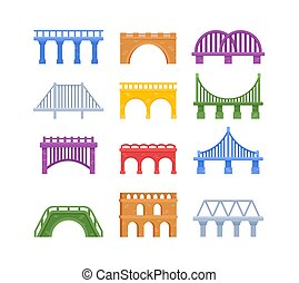 Set of Bridges, Urban Crossover Architecture and Construction for Transportation with Carriageway, City Infrastructure Design Elements Isolated on White Background. Cartoon Vector Illustration, Icons
