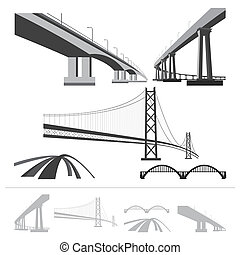 set of bridges, vector silhouette collection isolated on...