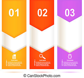 Set of bright banners on white background with template instruct