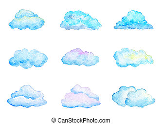 Set of Bright Blue Watercolor Clouds, Isolated on White, ...
