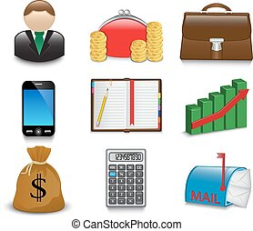 Set of bright business icons