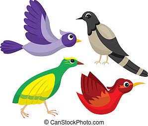 Set of bright cartoon birds