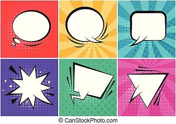 Set of bright color retro comic speech bubbles