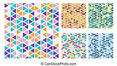 Set of bright color triangles simple pattern on white background