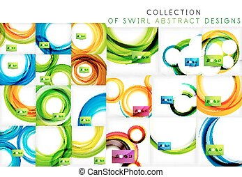 Set of bright color wave templates