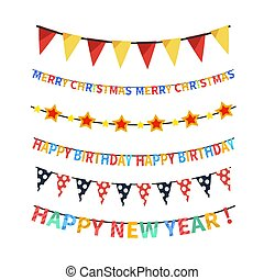 Set of bright colorful bunting and garlands on white