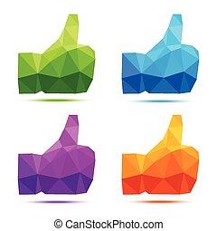 Set of bright colorful geometric polygonal thumb up icons